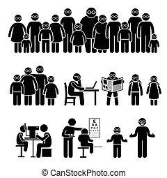 emberek, gyerekek, család, hord, szemüveg
