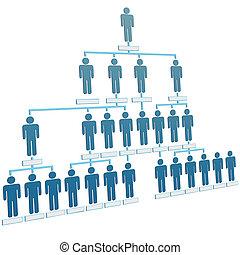 emberek, hierarchia, társaság, diagram, szervezet, egyesített
