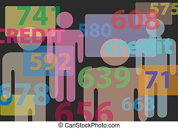 emberek, hitel, bemetsz, komód, számok, jelent kártya