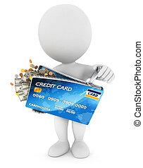 emberek, hitelkártya, fehér, indít, 3