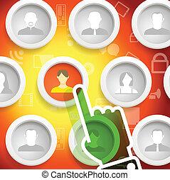 emberek, icons., hívás, keret, karika, -e, barát