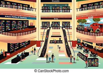 emberek in egy, könyvesbolt