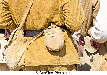 emberek in, soviet military, egyenruhába öltöztetni, és, muníció, közben, a, második, világ, war.