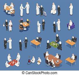 emberek, isometric, állhatatos, arab