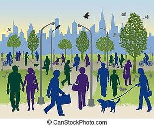 emberek jár, alatt, egy, városi park