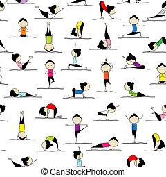 emberek, jóga, -e, háttér, seamless, gyakorló, tervezés