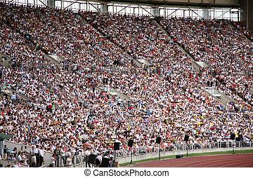 emberek, képben látható, a, stadion