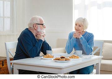 emberek, két, öregedő, látszó, más, mindegyik