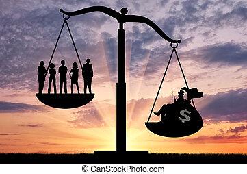 emberek, között, egyenlőtlenség, gazdag, társadalmi,...
