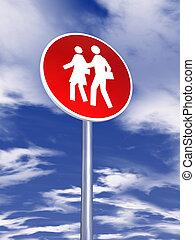 emberek, közlekedési jelzőtábla