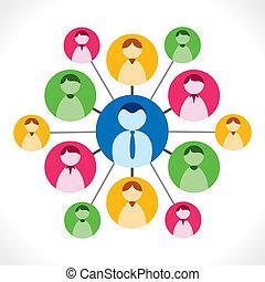 emberek, kapcsolat, vagy, hálózat