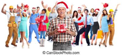 emberek, karácsony, tolong, gifts.