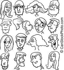 emberek, karikatúra, betűk, arc