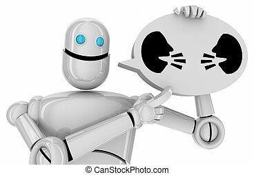 emberek, kommunikáció, vita, bot, két, ábra, robot, beszéd, beszéd, csevegés, arc, buborék, 3
