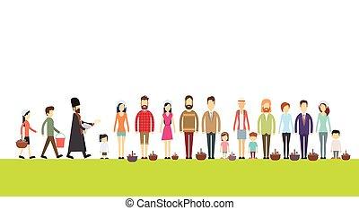 emberek, kosár, áll, húsvét, szentelt, boldog, lelkész, ünnep, egyenes, csoport, áldás, aprósütemény, ikra