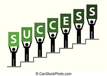 emberek, lépcsősor, siker, pictogram