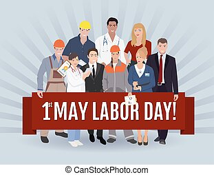 emberek, lehet, transzparens, day., illustration., munka, ábra, vektor, felírás, foglalkozás, köszönés, állhatatos, különböző, 1, csoport, lakás, nap, nemzetközi