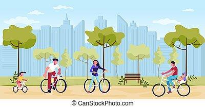 emberek, liget, kerékpározás