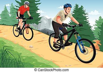emberek, lovaglás, hegy bicikli