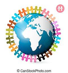 emberek, mindenfelé, globe., férfiak, hatalom kezezés, képben látható, earth., egység, jelkép.