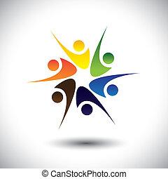 emberek, misét celebráló, gyerekek, happiness., &, is, karika, izgatott, osztozás, tánc, színes, öröm, játék, grafikus, barátok, őt előad, iskola ugrat, emberek, dolgozók, birtoklás, vektor, móka, vagy