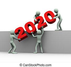 emberek, munka, év, 2020, befog, 3
