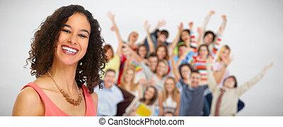 emberek, nő, csoport, fiatal, boldog