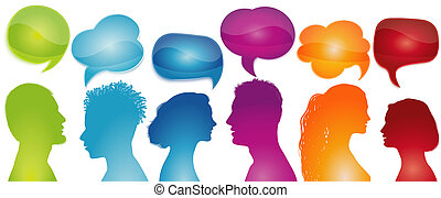 emberek, network., társadalmi, beszél, bubble., szivárvány, ...