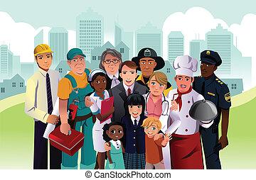 emberek, noha, különböző, foglalkozás