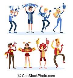 emberek, ország, set., lobogó, rajongó, futball, eltart