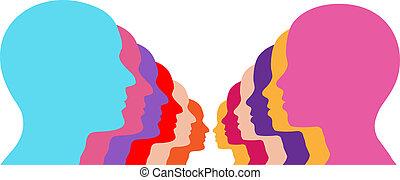 emberek, párosít, megvonalaz, arc, női, hím, evez