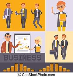 emberek, pénz., keresés, álló, projects., munkás, díszkíséretek, team., presentation., black bábu, lakás, woman ügy, transzparens, hands., hivatalos, illustration., remegő, vektor, üzletember, fejteget