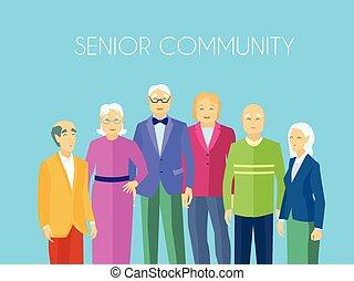 emberek, poszter, csoport, idősebb ember, lakás, közösség
