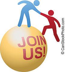 emberek, segítség, csatlakozik, társadalmi, website