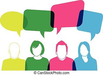 emberek, színpompás, beszélő