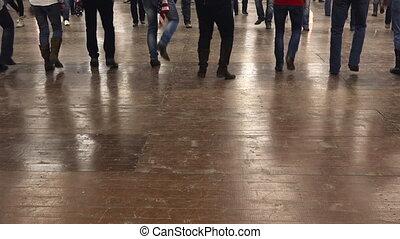 emberek, tánc, cowboy, megtölt táncol, noha, country zene