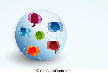 emberek, társalgás., information., között, csoport, ...
