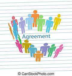 emberek, társaság, egyezmény, összehúz, megegyezés, találkozik
