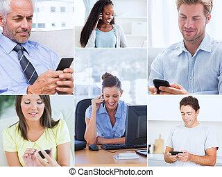 emberek, telefon, mozgatható, -eik, mozi, kiállítás, használ...