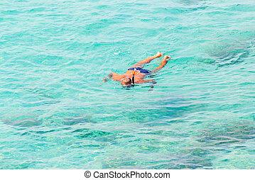 emberek, tenger, úszás