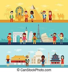 emberek, utazás, mindenfelé, világ, természetjáró, látszó, és, tart tévékép, közül, nevezetességek, alatt, híres, világ, iránypont, ikonok, egyiptom, európa, és, asia.