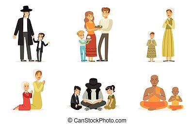 emberek, vallásos, boldog, vallás, gyűjtés, felolvasás, imádkozás, család, különböző, ábra, öltözék, vektor, hagyományos, előjegyez