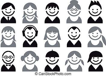 emberek, vektor, ikon, állhatatos