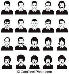 emberek, vektor, ikon, felhasználó