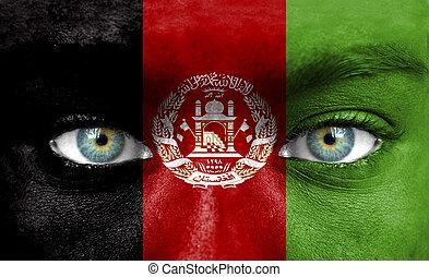emberi arc, festett, noha, lobogó, közül, afganisztán
