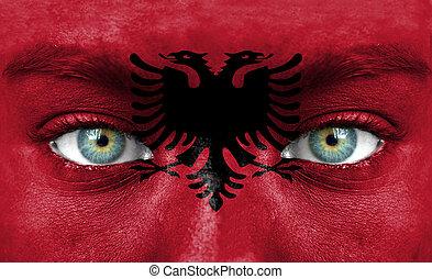 emberi arc, festett, noha, lobogó, közül, albánia