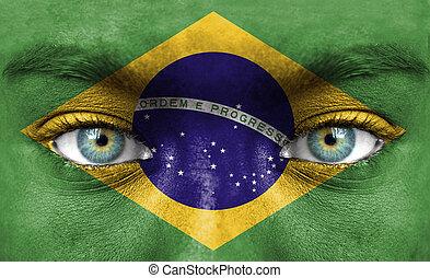 emberi arc, festett, noha, lobogó, közül, brazília