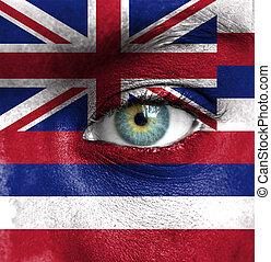 emberi arc, festett, noha, lobogó, közül, hawaii