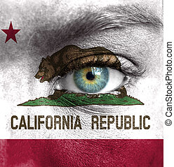 emberi arc, festett, noha, lobogó, közül, kalifornia