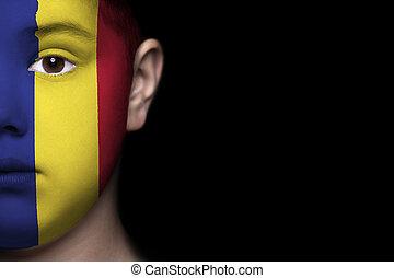 emberi arc, festett, noha, lobogó, közül, rom